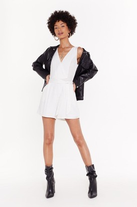 Nasty Gal Womens Belted Playsuit - Black - S, Black