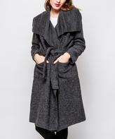 Dark Gray Wool-Blend Tie-Front Trench Coat