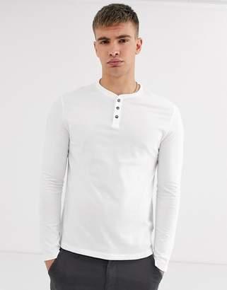 Burton Menswear long sleeve t-shirt with granddad collar in white
