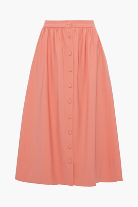 Chinti and Parker Gathered Stretch-twill Midi Skirt