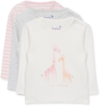 M&Co Giraffe stripe t-shirts three pack (Newborn-18mths)
