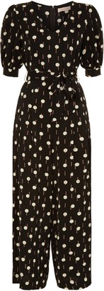 Traffic People Geometric Print V-neck Hetty Jumpsuit In Black And White