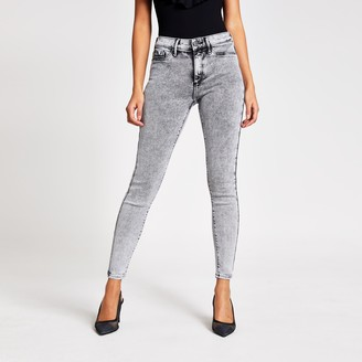 River Island Womens Grey Molly mid rise jeggings