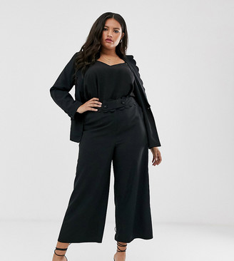 Fashion Union plus straight leg trouser with scallop waist detail co-ord