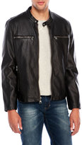 Andrew Marc Faux Leather Spruce Moto Jacket