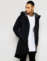 Asos Unlined Parka In Wool Jersey and Oversized Fit