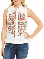 Democracy Sleeveless Floral Embroidered Button-Front Shirt