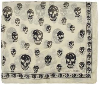 Alexander McQueen Off-White Silk Skull Scarf
