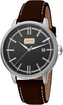 Just Cavalli 42mm Men's Relaxed Patch Watch w/ Calf Leather Strap, Black