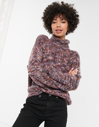 Monki multi colour cable knit roll neck jumper