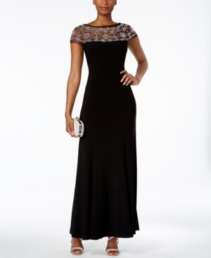 R & M Richards Petite Beaded-Mesh Gown