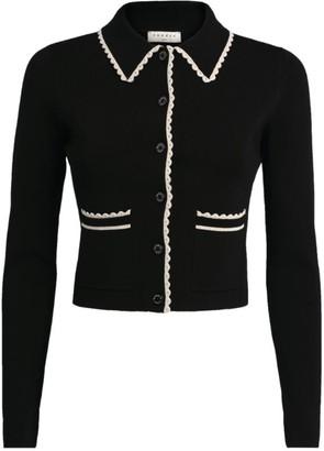 Sandro Paris Knit Contrast-Trim Cropped Cardigan