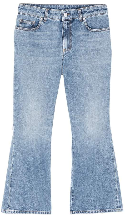 Alexander McQueen Logo embroidered cropped flared jeans