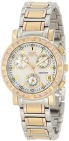 Invicta Women's 10321 Diamond Accented Chronograph White Mother-Of-Pearl Dial Tri-Tone Stainless Steel Watch