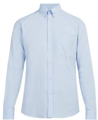 Givenchy Logo Embroidered Cotton Oxford Shirt - Mens - Light Blue