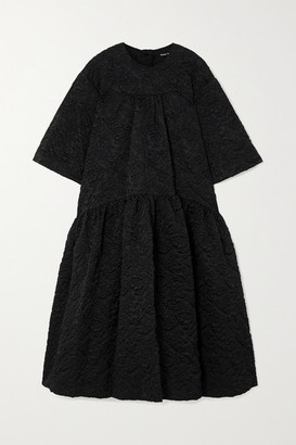 Simone Rocha Oversized Tiered Cloque Midi Dress - Black