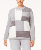 Alfred Dunner Plus Size Northern Lights Collection Embellished Colorblocked Sweater