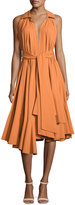 Josie Natori Ruffled Stretch-Cotton Halter Dress, Bronze