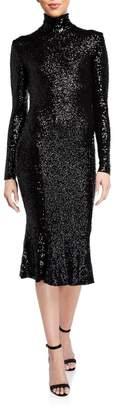 Norma Kamali Sequin Long-Sleeve Turtleneck Fishtail Dress