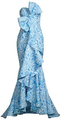 Mestiza New York Azulejo Strapless Bow Gown