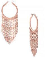 Jessica Simpson Rule Breaker Chain-Fringed Hoop Earrings