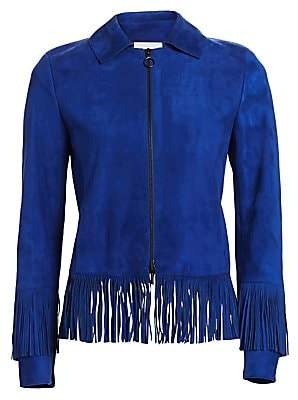 Akris Punto Women's Fringe Hem Suede Jacket