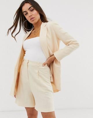 Asos Design DESIGN linen suit blazer in buttermilk-Yellow