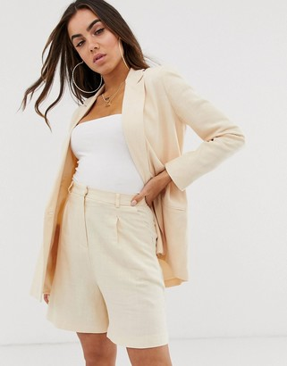 ASOS DESIGN linen suit blazer in buttermilk
