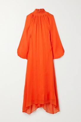 Mara Hoffman Net Sustain Edmonia Asymmetric Cotton-blend Crepon Dress - Orange