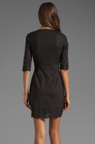 Catherine Malandrino Extended Sleeve Cotton Dress with Geometric Cut Out