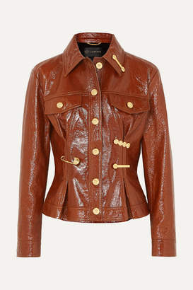 Versace Embellished Textured Patent-leather Peplum Jacket - Brown