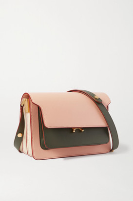 Marni Trunk Small Color-block Leather Shoulder Bag - Pink