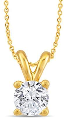 Perfect Love Diamond Collection Women's 18 ct Yellow Gold Round Diamond Pendant Necklace, Certified Ideal Cut 0.1 ct