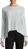 Cheap Monday Long-Sleeve Crop Sweater, Mist Gray