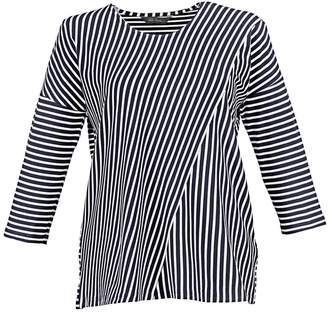 Ulla Popken Breton Striped T-Shirt with 3/4 Length Sleeves