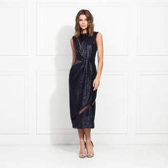 Rachel Zoe Lorraine Fluid Sequin Cutout Midi Dress