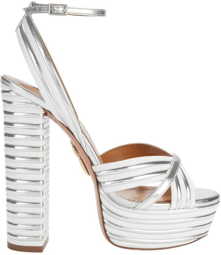 Aquazzura Sundance Silver Platform Sandals