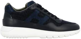 Hogan Interactive Cube 3 Sneakers In Leather And Lurex Fabric With H And Sport Sole
