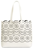 Chelsea28 Lily Scallop Faux Leather Tote - White