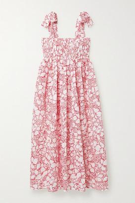 Marysia Swim Sicily Smocked Floral-print Perforated Cotton Midi Dress - White