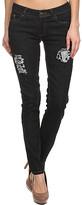 Emperial Premium Women's Denim Pants and Jeans BLACK - Black V-Detail Distressed Five-Pocket Skinny Jeans - Juniors
