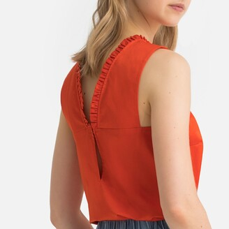 La Redoute Collections Cotton Ruffled Top with Open Back