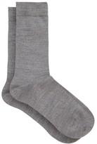 Falke Soft Wool And Cotton-blend Socks - Womens - Grey