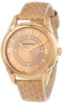 "Versace Women's VFF020013 ""Dafne"" Rose Gold Ion-Plated Stainless Steel Dress Watch with Leather Band"