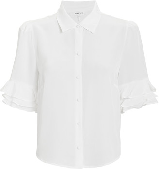 Frame Ruffled Silk Button-Down Shirt
