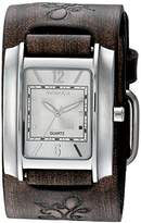Nemesis Women's 'Square in Square Series' Quartz Stainless Steel and Leather Watch, Color:Brown (Model: DBVFB013S)