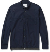 Sacai Typewriter Shell-trimmed Cotton-piqué Shirt - Navy