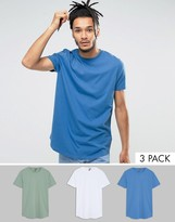 Asos Longline T-shirt with Curve Hem 3 Pack SAVE