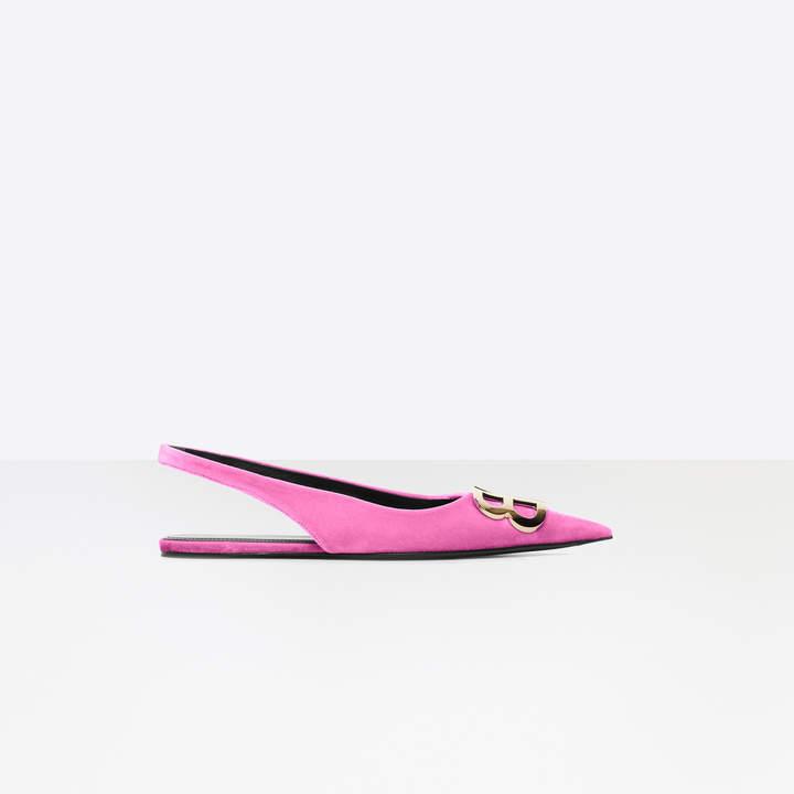 Balenciaga BB Flat Slingback Ballerina in neon pink velvet