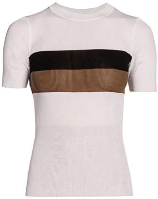 Fendi Striped Silk T-Shirt